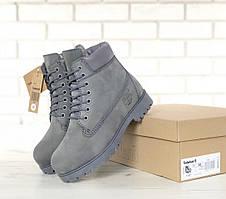 Ботинки Timberland Classic Boots серого цвета на шерстяном меху