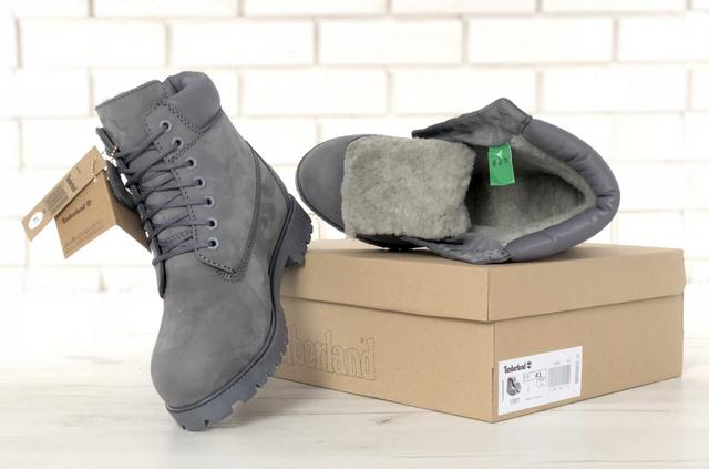 Ботинки Timberland Classic Boots серого цвета натуральных мех 100% живые фото