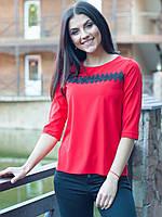 Офисная красная блуза с ажуром