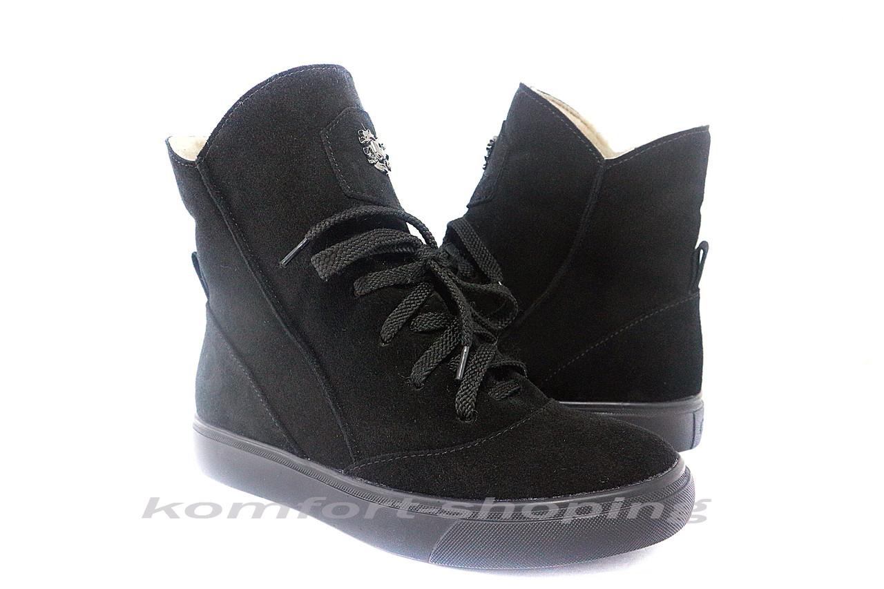 Ботинки женские , черные замшевые  V 1216