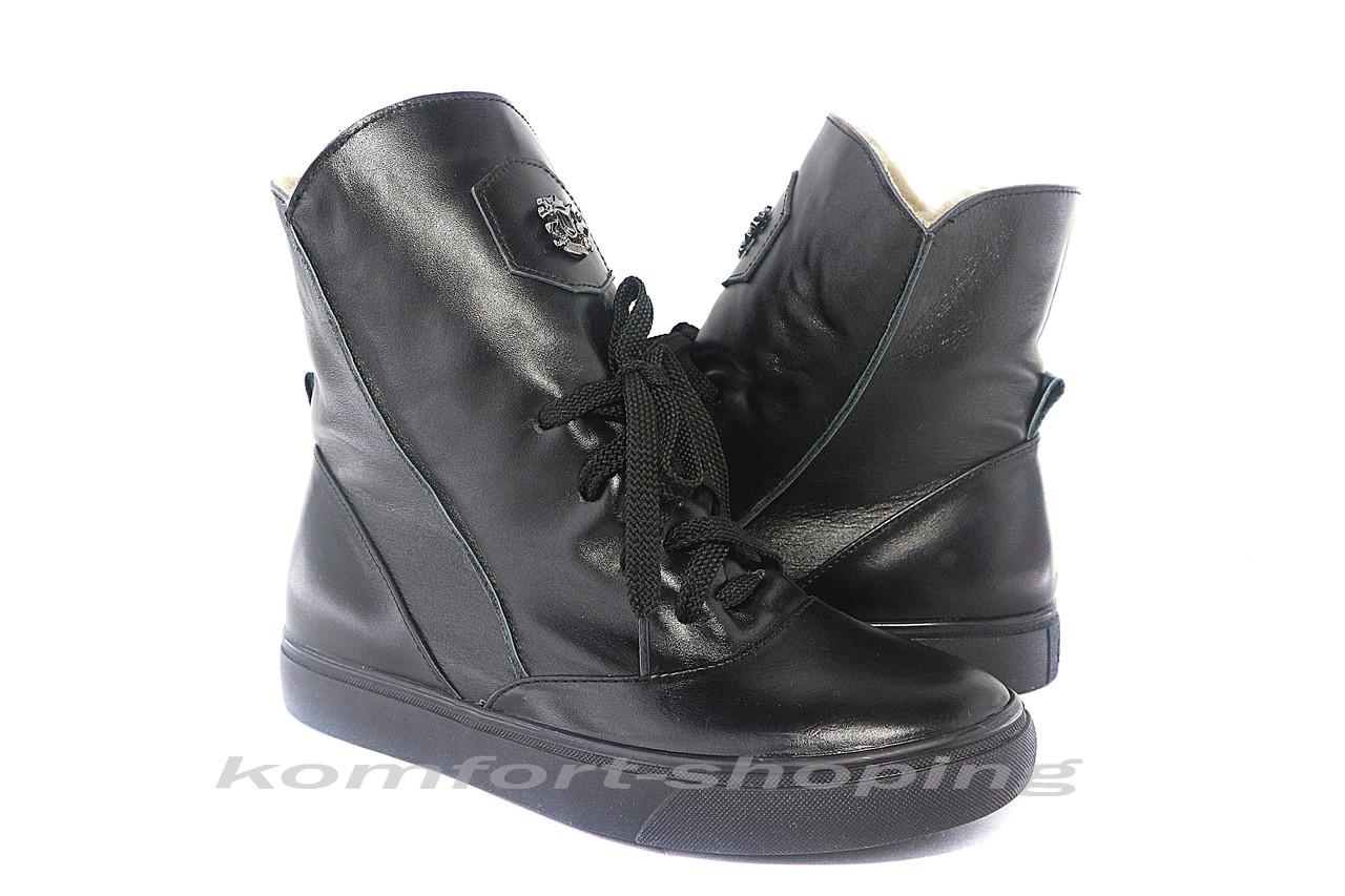 Ботинки женские, черные кожаные  V 1216