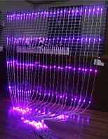 Водопад Гирлянда Штора 480 Led - Занавес на белом прозрачном проводе 3 x 2 м цвет фиолетовый лед