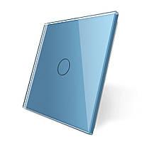 Лицевая панель для сенсорного выключателя Livolo 1 канал, цвет голубой, материал стекло (VL-C7-C1-19)