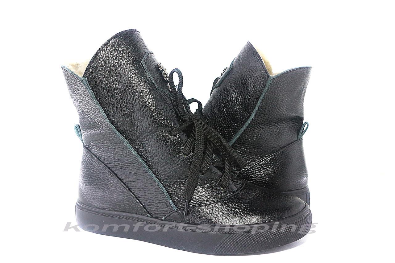 Ботинки женские,  черные кожаные, флотар  V 1216