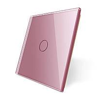 Лицевая панель для сенсорного выключателя Livolo 1 канал, цвет розовый, материал стекло (VL-C7-C1-17)