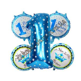 Фольгированные воздушные шары набор из 5 шаров один годик мальчику
