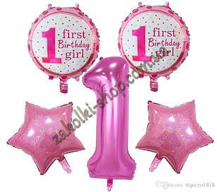 Фольговані кульки набір з 5 куль один рочок дівчинці