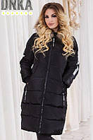 Куртка зимняя женская пуховик плащевка холлофайбер натуральный мех 42-48 размеров, 2 цвета