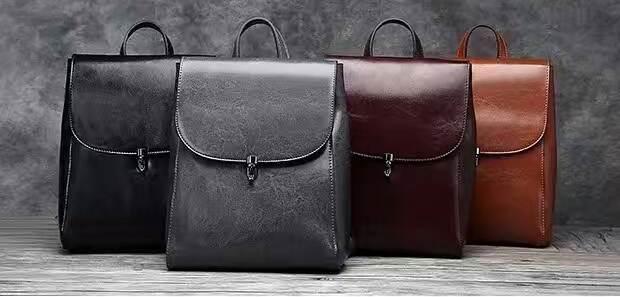 ebe6f74dc251 ... Женский городской сasual кожаный стильный рюкзак черный с клапаном  ручная работа, ...