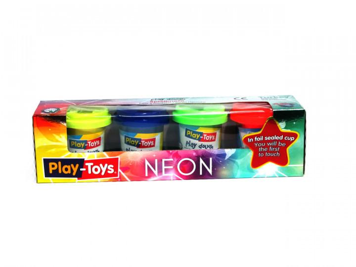"""Тесто для лепки """"Play-Toys"""" неон №4122 4*50"""
