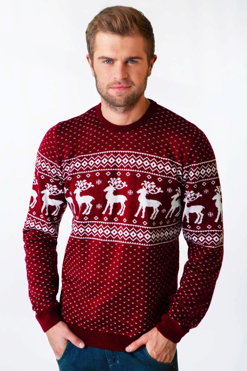 650a5db728334 Мужской вязаный свитер с оленями марсалового цвета купить недорого в ...