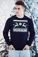 Молодежный свитшот в рождественском стиле темно-синего цвета, фото 1