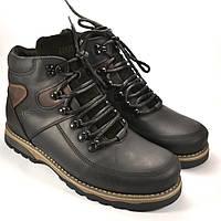 Ботинки мужские зимние черные кожаные на меху Rosso Avangard Major Payne Sport Trend Black-Brown, фото 1