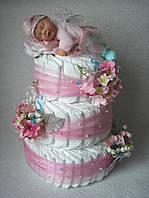 """Торт з памперсів """"Новонародженої ляльці"""". 100 штук"""