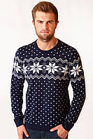 Мужской вязаный свитер на зиму темно-синего цвета, фото 1