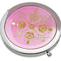 Зеркальце №HB-010 с золотой высечкой (металл) 7см