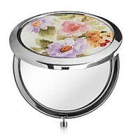 Зеркальце №HB-009 с цветочками  (металл, 7 см)