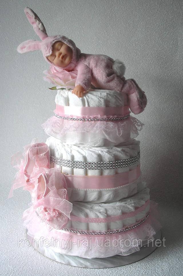Шакарный торт из памперсов с куклой