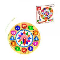 Деревянная игра Часы-Шнуровка