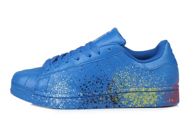 Мужские кроссовки Adidas Superstar Supercolor PW Paint Art Blue  Адидас суперстар суперколор пеинт арт синие