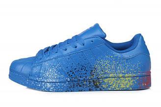 Мужские кроссовки Adidas Superstar Supercolor PW Paint Art Blue| Адидас суперстар суперколор пеинт арт синие
