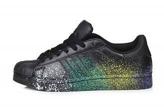 Мужские кроссовки Adidas Superstar Supercolor PW Paint Art Black | Адидас суперстар суперколор черные