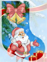 "Схема для вышивки бисером новогодний сапожок ""Дед мороз"""