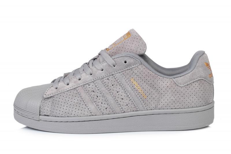 Мужские кроссовки Adidas Superstar Suede Soft Grey | Адидас суперстар суид серые