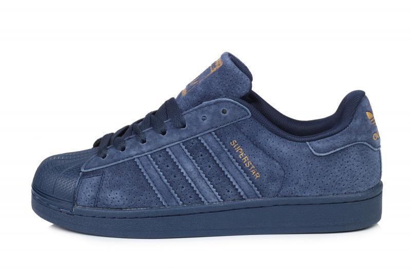 Мужские кроссовки Adidas Superstar Suede Navy| Адидас супестар суперколор синие