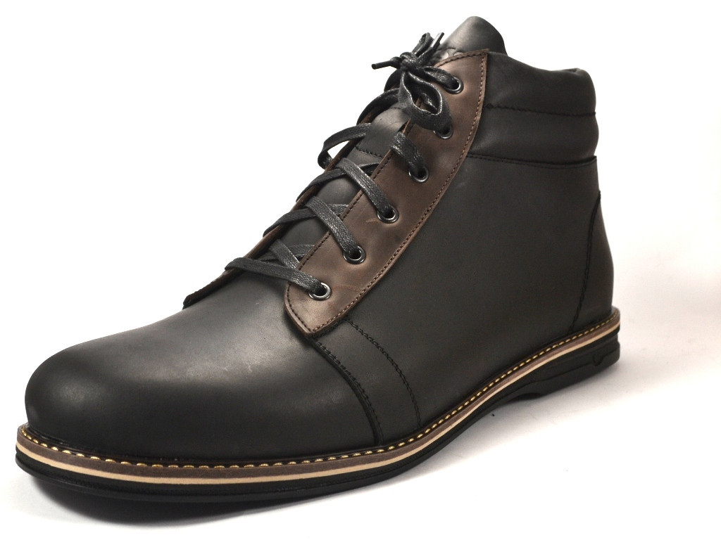 Большие размеры Черные ботинки зимние мужские кожаные Rosso Avangard Bridge Сomfort Black Leather