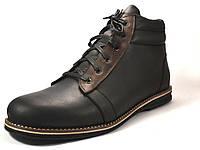 Большие размеры Черные ботинки зимние мужские кожаные Rosso Avangard Bridge Сomfort Black Leather, фото 1