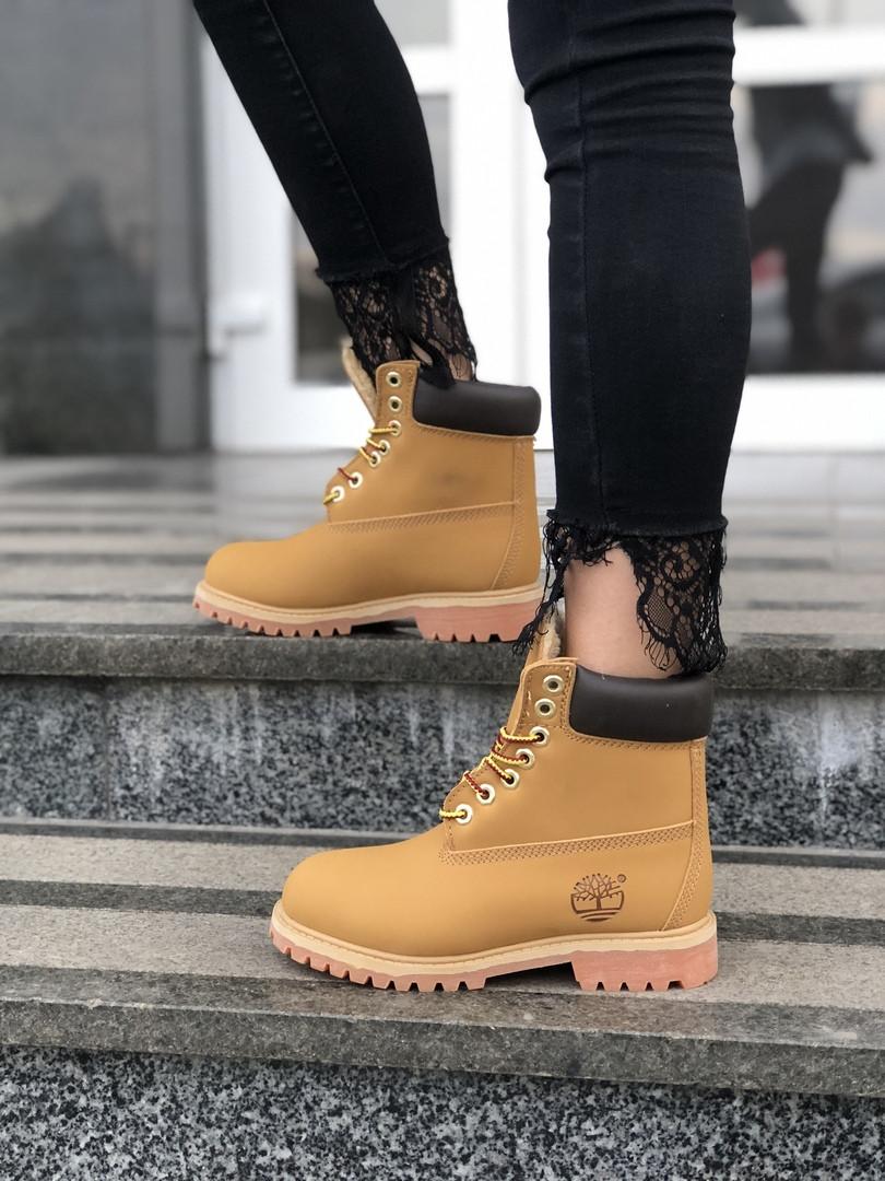 "Зимние ботинки Timberland ""Brown"" ( в стиле Тимберленд ) с мехом"