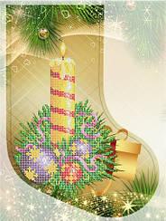 """Схема для вышивки бисером новогодний сапожок """"Новогодняя свеча"""""""