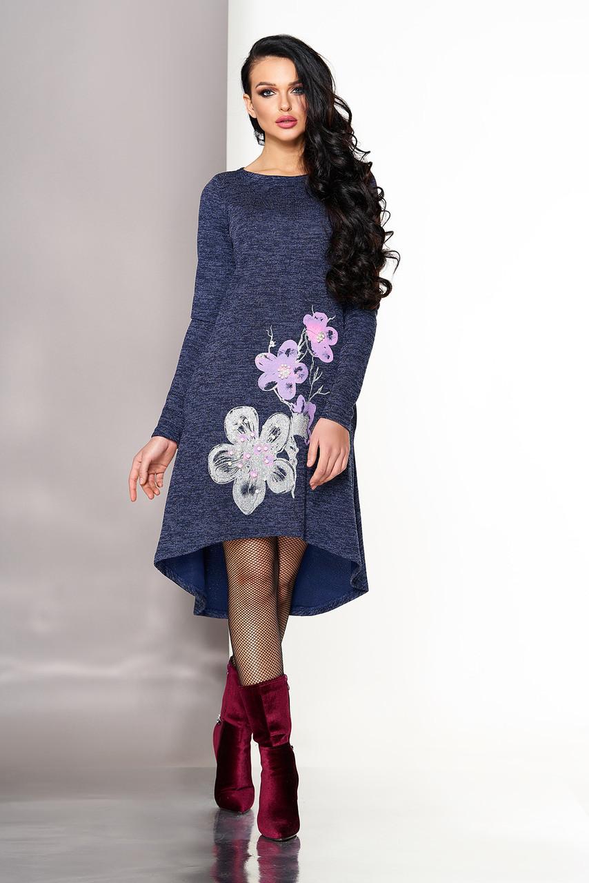Асимметричное женское синее платье с цветами