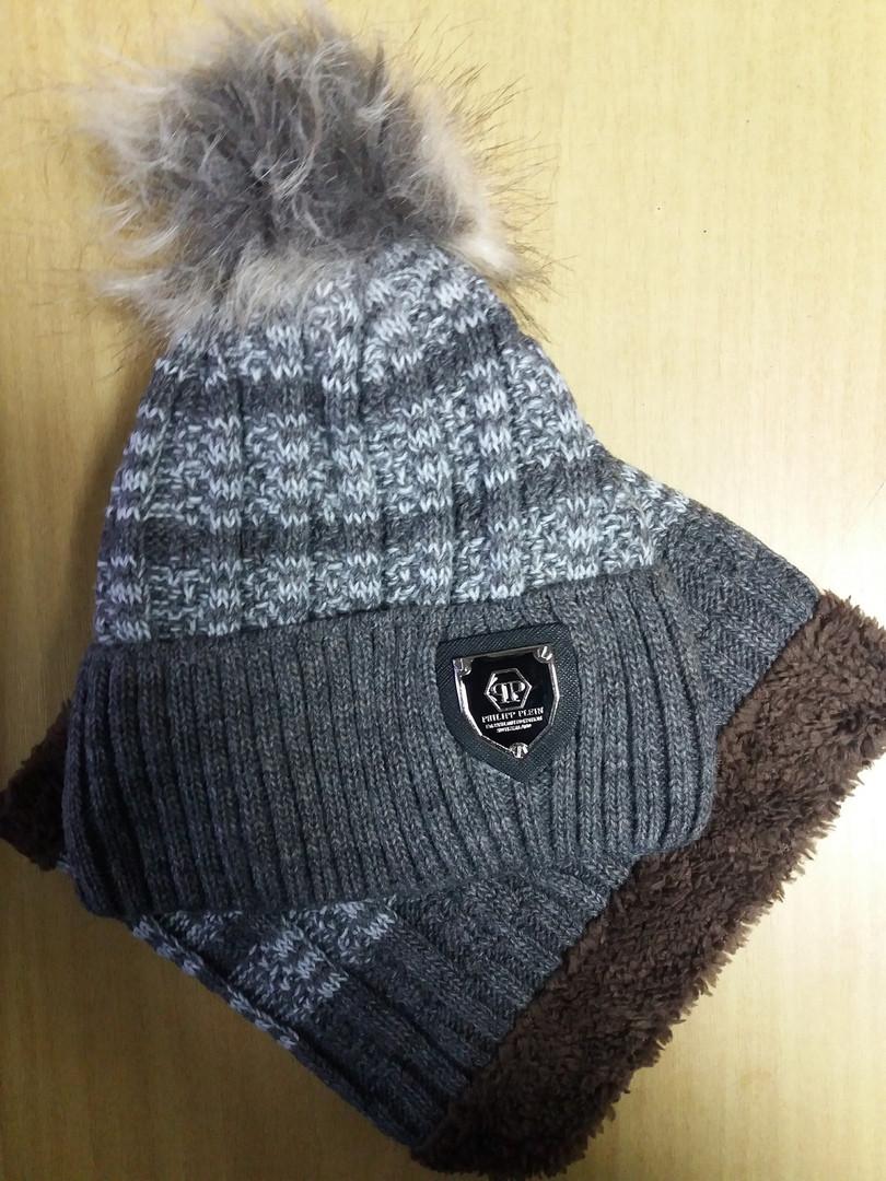 Зимний комплект: шапка с помпоном + хомут   50-52 см