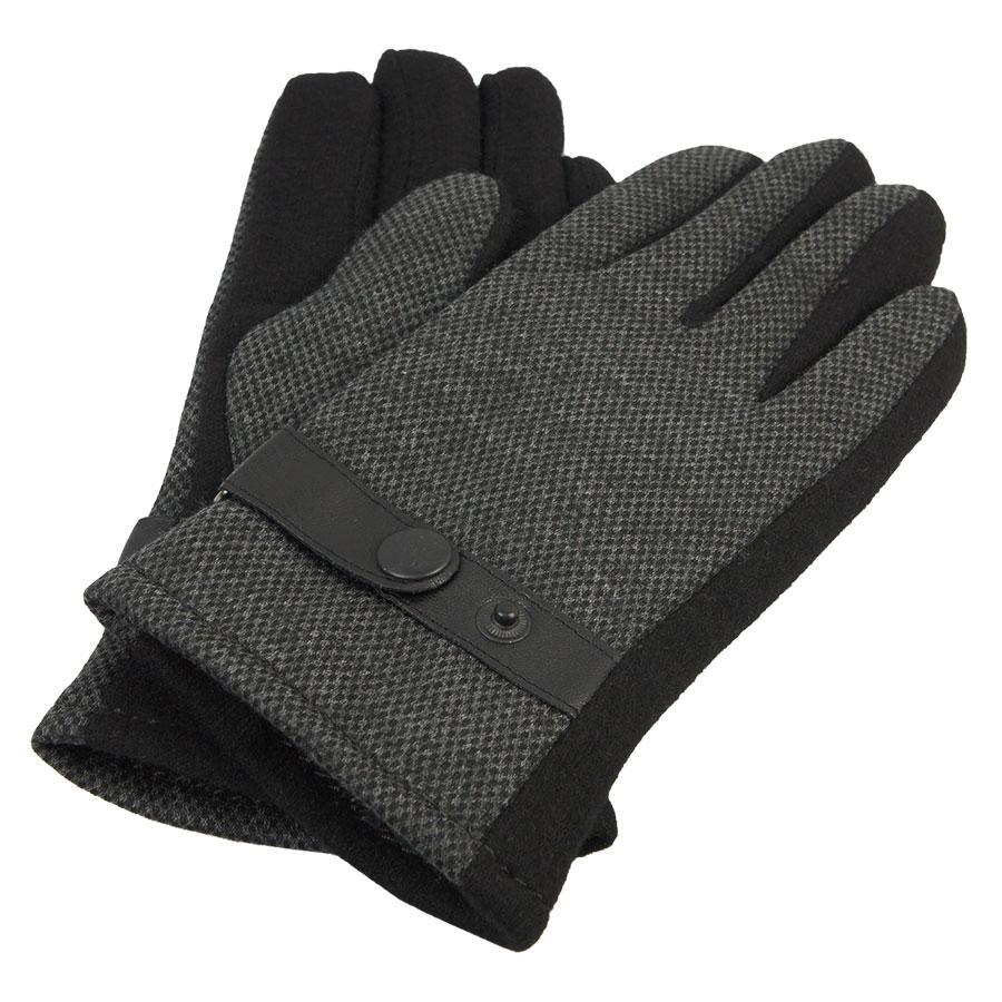 Сірі чоловічі рукавиці Зима М:2018/1 кнопка