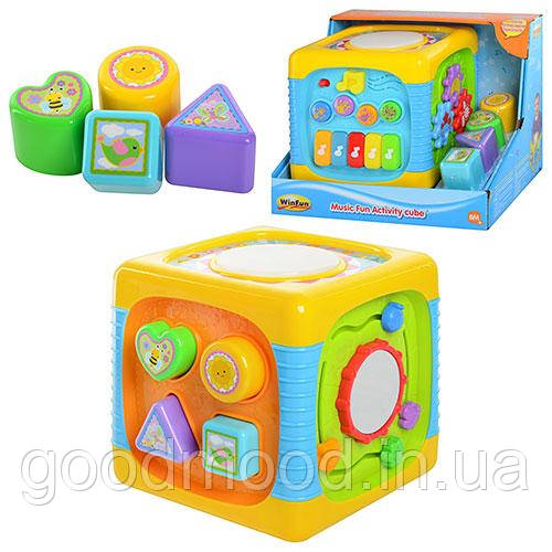 Гра 0741 NL музичний кубик, звуки тварин, сортер, світло, бат., кор.,30-24-22 см