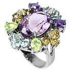 Серебряное кольцо 925 пробы с натуральным аметистом и самоцветами Размер 16