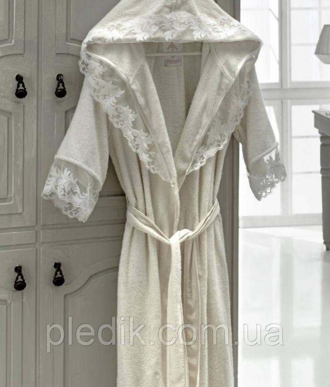 Набор: махровый халат с кружевом + полотенца + тапки Altinbasak Kleopatra р.ХХL