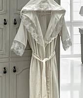Набор: махровый халат с кружевом + полотенца + тапки Altinbasak Kleopatra
