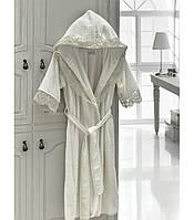 Набор: махровый халат XXL с кружевом + полотенца + тапки Altinbasak Margarete