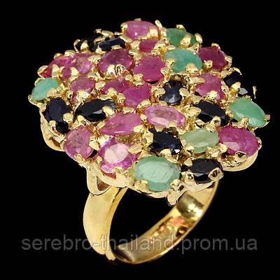 Серебряное позолоченное кольцо 925 пробы с натуральным рубином, сапфиром и изумрудом Размер 18