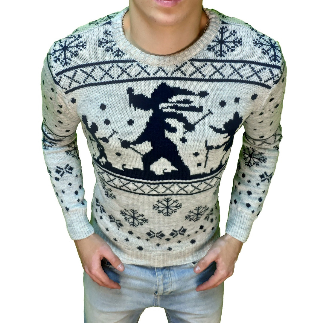 Мужской свитер с волком белый с черным. Живое фото