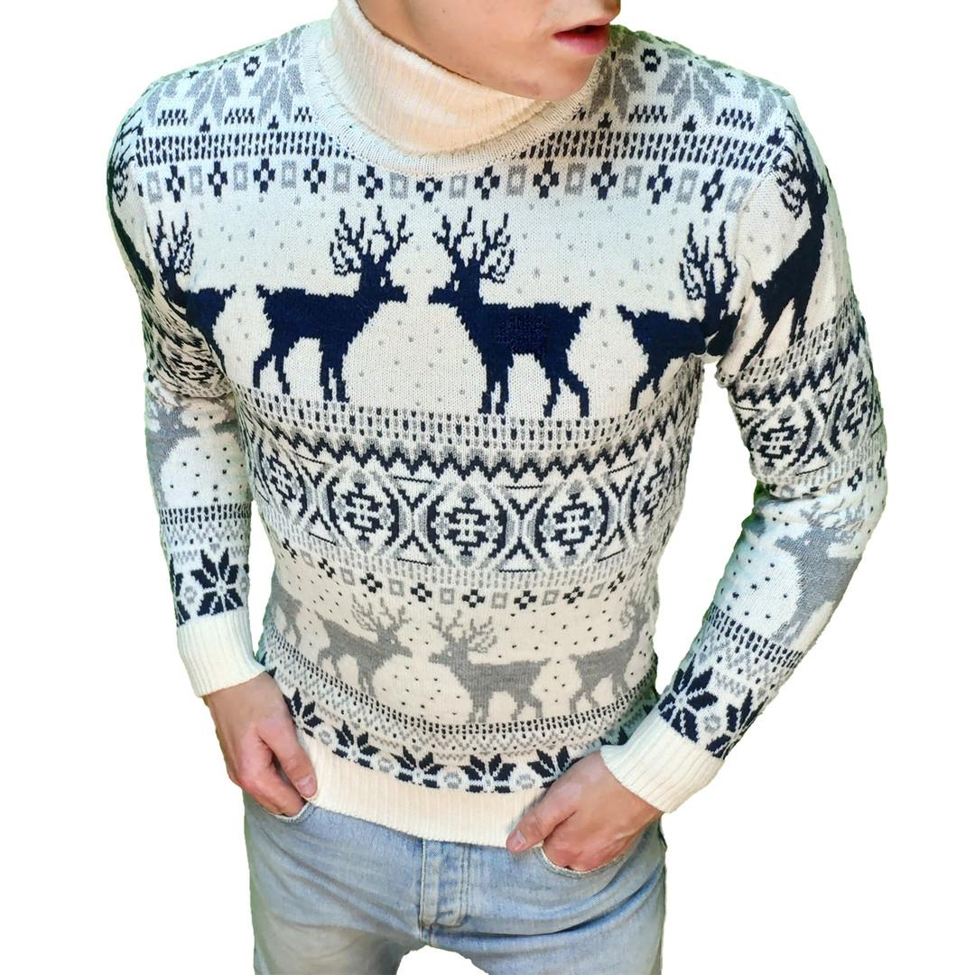 Мужской зимний свитер с оленями белый с черным. Живое фото