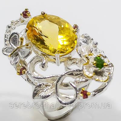 Серебряное кольцо ручной работы 925 пробы с натуральным цитрином Размер 18