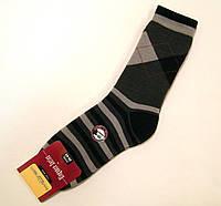 Теплые полушерстяные носки в ромбы темно-серого цвета
