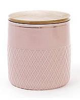 Банка Gold Star-107 для сыпучих продуктов 1000мл с бамбуковой крышкой, розовая