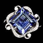 Серебряное кольцо 925 пробы с натуральным кварцем цвета танзанита Размер 16,5