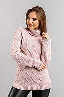 Вязаный свитер Зигзаг с горлом, пудра, фото 1