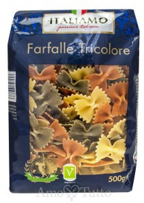 Макароны твердых сортов цветные бабочки  «Farfalle Tricolore», 500 гр.